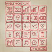 Telefono cellulare set di icone doodle — Vettoriale Stock