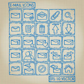 E-mail icon set di doodle — Vettoriale Stock
