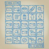 E-mail icon doodle-set — Stockvektor