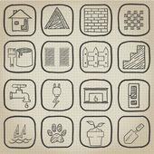 каракули дом икона set — Cтоковый вектор