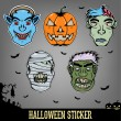 Halloween Sticker Monster — Stock Vector