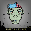 Halloween Zombie Head — Stock Vector