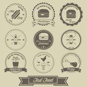 Fast Food Vintage Label — Stock Vector