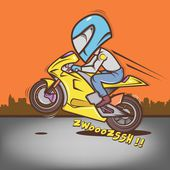 Big Head Rider Wheelie — Stock Vector