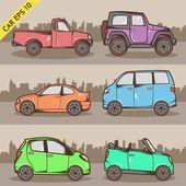 Cartoon Car Set — Stock Vector