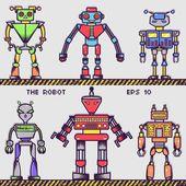 Retro Robot Collection — Stock Vector