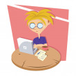 Stock Vector: Laptop Boy