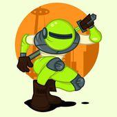 Green Toxic Robot — Stock Vector
