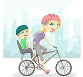 Family Bicycle Illustration — Stock Photo