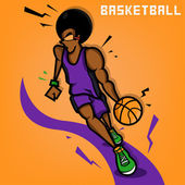 Afro Basketball Player Illustration — Stock Photo