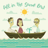 All in The Same Boat Illustration — Stock Photo