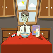 Dozombox The Capitalism Zombie Breakfast Illustration — Stock Photo