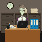 Dozombox The Capitalism Zombie Office Illustration — Stock Photo