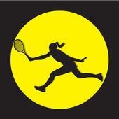 женский теннисный игрок силуэт — Стоковое фото