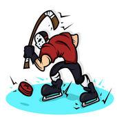 хоккейные игрока мультфильм с большой мышцы иллюстрации — Стоковое фото
