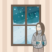 Xmas girl starring at through the window looking at the snow falling from the sky at night christmas — Stock Photo