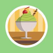 Green Tea Ice Cream Dessert Illustration — Stock Photo
