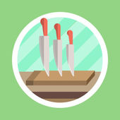 Kitchen Utensil Knife Flat Design — Stock Photo
