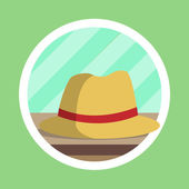 Brown Fedora Hat Flat Design — Stock Photo