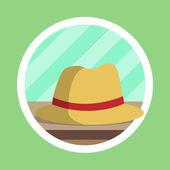 Brown Fedora Hat Flat Design — Stock Photo