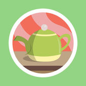 Kitchen Utensil Tea Pot Flat Design — Stock Photo