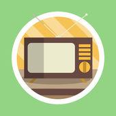 Vintage Television Flat Design — 图库照片
