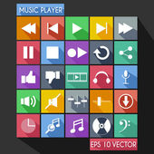 Music Player Flat Icon Long Shadow — Stock Vector
