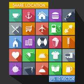 Shared Location Flat Icon Long Shadow — Wektor stockowy