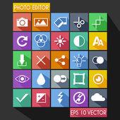 Photo Editor Flat Icon Long Shadow — Stock Vector