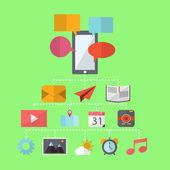 Mobile Phone Flat Design — Stock Vector