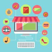 Online Shopping Flat Design Item — Stock Vector
