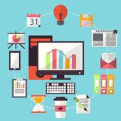 управление рабочей бизнес плоский дизайн — Cтоковый вектор