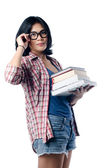 Nerd Asian College Girl With a Pile of Books — ストック写真