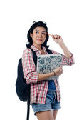 Nerd Asian College Girl Thinking About Something — Stock Photo
