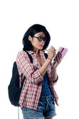 Nerd Asian College Girl Write a Note — ストック写真