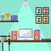 Musician Studio Workstation Flat Design — Vector de stock