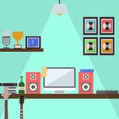Musician Studio Workstation Flat Design — Stock Vector