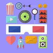 Cinema movie entertainment flat design — Stock Vector