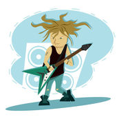 Hardcore guitar long hair player — Stock Vector
