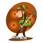 Reggae dread lock bass player — Stock Vector