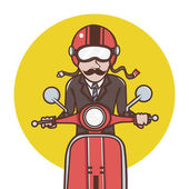 Man with red helmet riding a red scooter — Stock Vector
