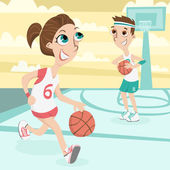 Cute couple play basletball Illustration — Stock Photo