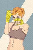 Asian Female Fighter with halftone effect Illustration — Foto Stock