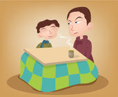 Two brother enjoying the kotatsu with hot green tea Illustration — Stock Photo