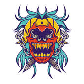 Red skull with blue hair tattoo design Illustration — Stock Photo