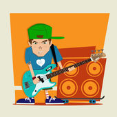Punk rock boy bass player Illustration — Stock Photo