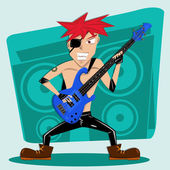 Red Hair rock bass player Illustration — Foto Stock