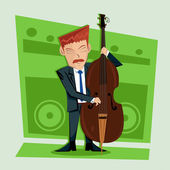 Smooth and elegant jazz contra bass player Illustration — Foto Stock