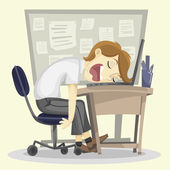Lazy Employee Illustration — Stock Photo
