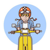 Man with orange helmet riding a yellow scooter Illustration — Stock Photo